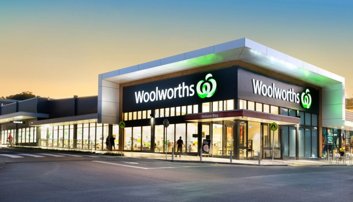Night photography image of new Woolworths shop in Nelson Bay Port Stephens