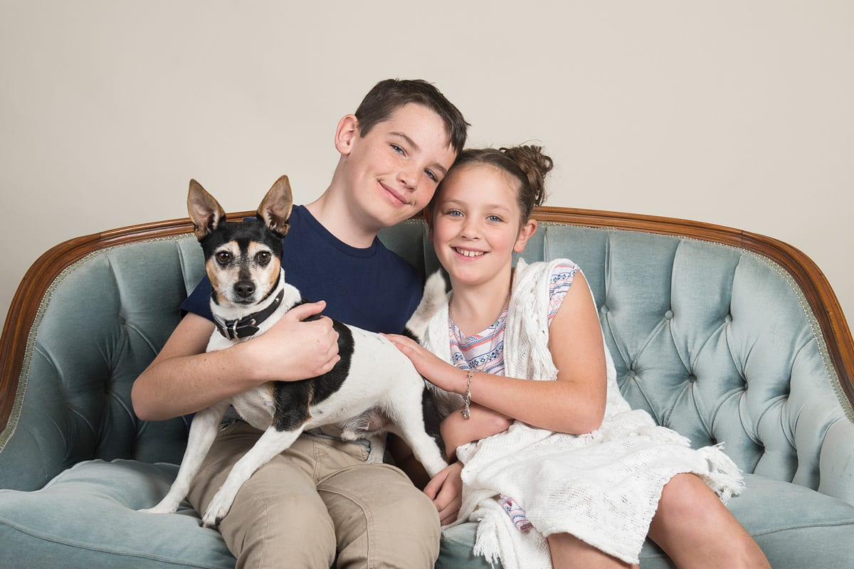 studio family portrait with dog and kids in studio me photography
