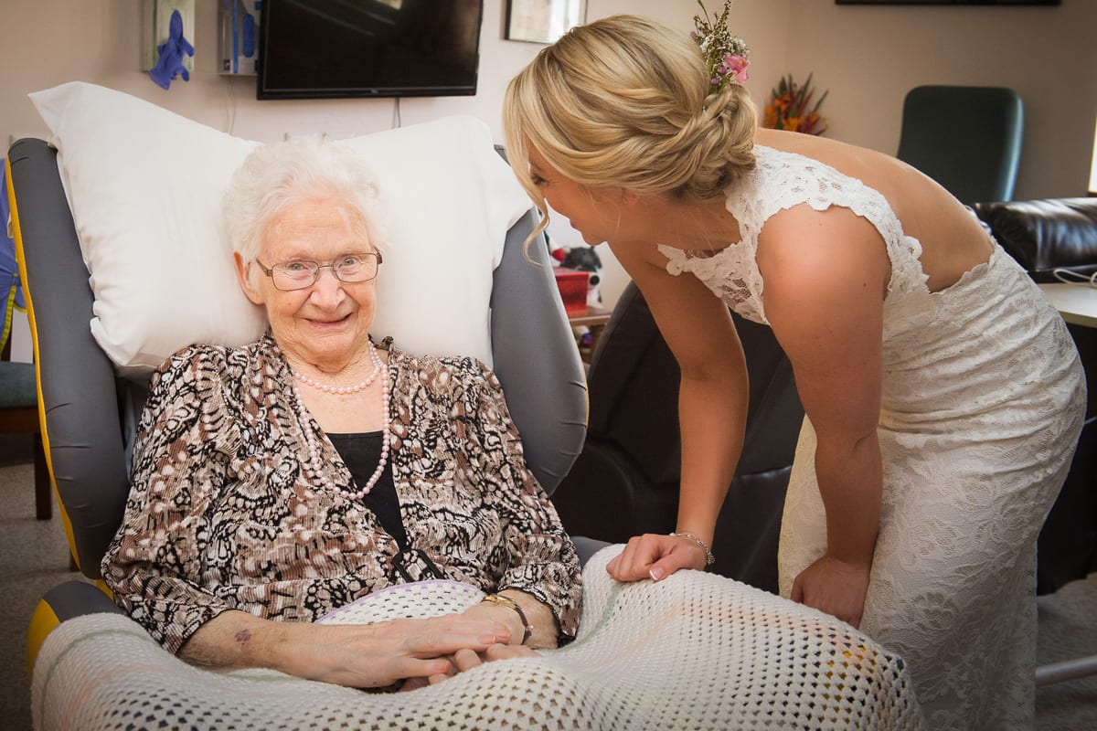 visiting grandma in nursing home after wedding ceremony nelson bay church