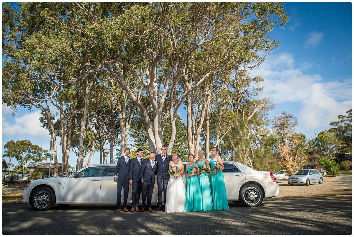 Limo hire on way to wedding Inner Lighthouse Nelson Bay Mark and Kiralea's wedding