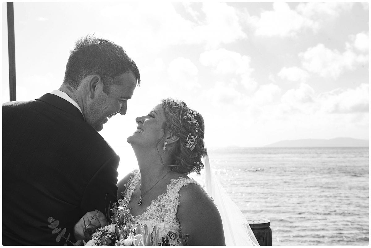 wedding portraits at jetty little beach after wedding ceremony at Inner Lighthouse Nelson Bay black and white images