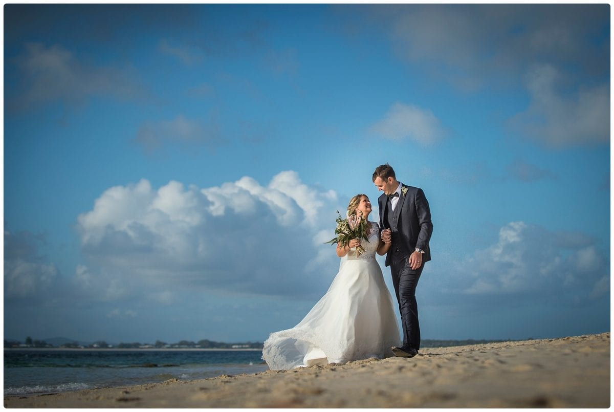 wedding location photo at little beach port Stephens after ceremony wedding Inner Lighthouse Nelson Bay