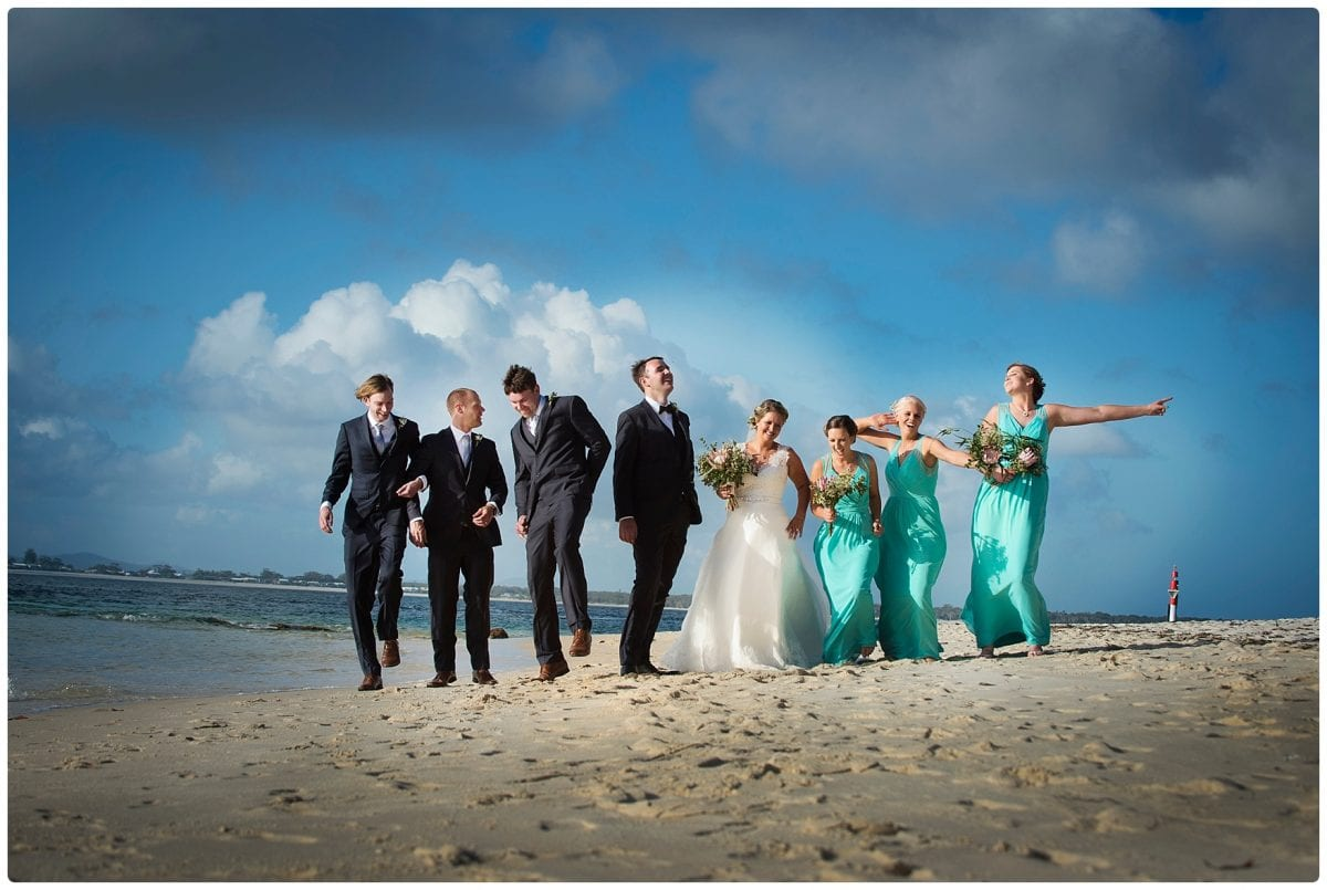 bridal party wedding location photo at little beach port Stephens after ceremony wedding Inner Lighthouse Nelson Bay