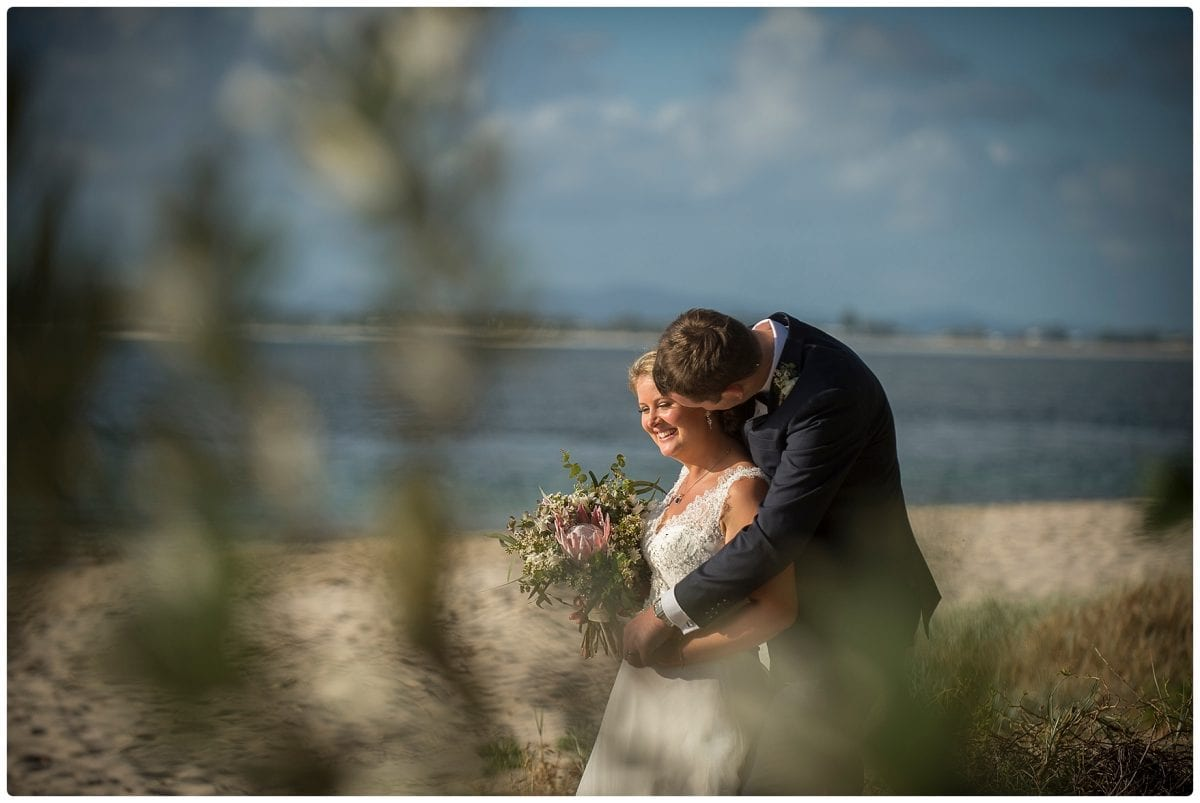 couple wedding location photo at little beach port Stephens after ceremony wedding Inner Lighthouse Nelson Bay