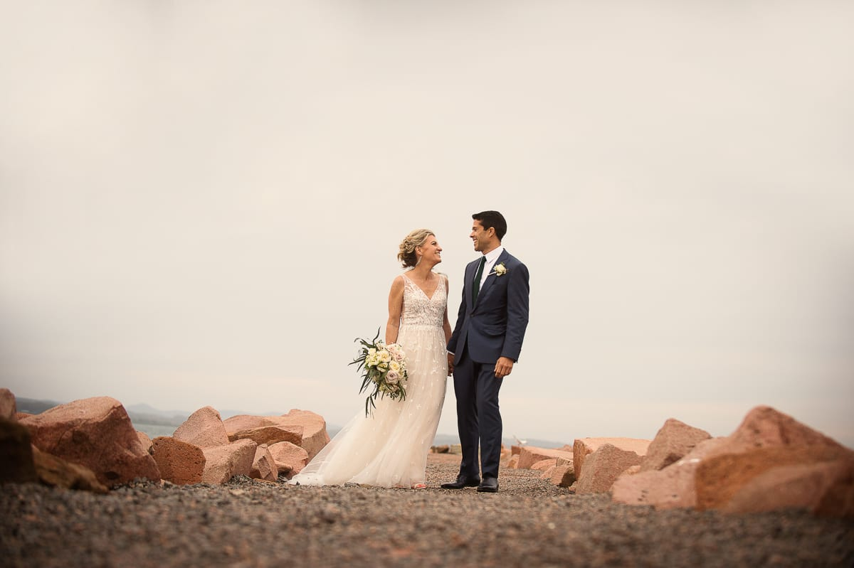 image of bride and groom at boardwalk Anchorage Port Stephens wedding