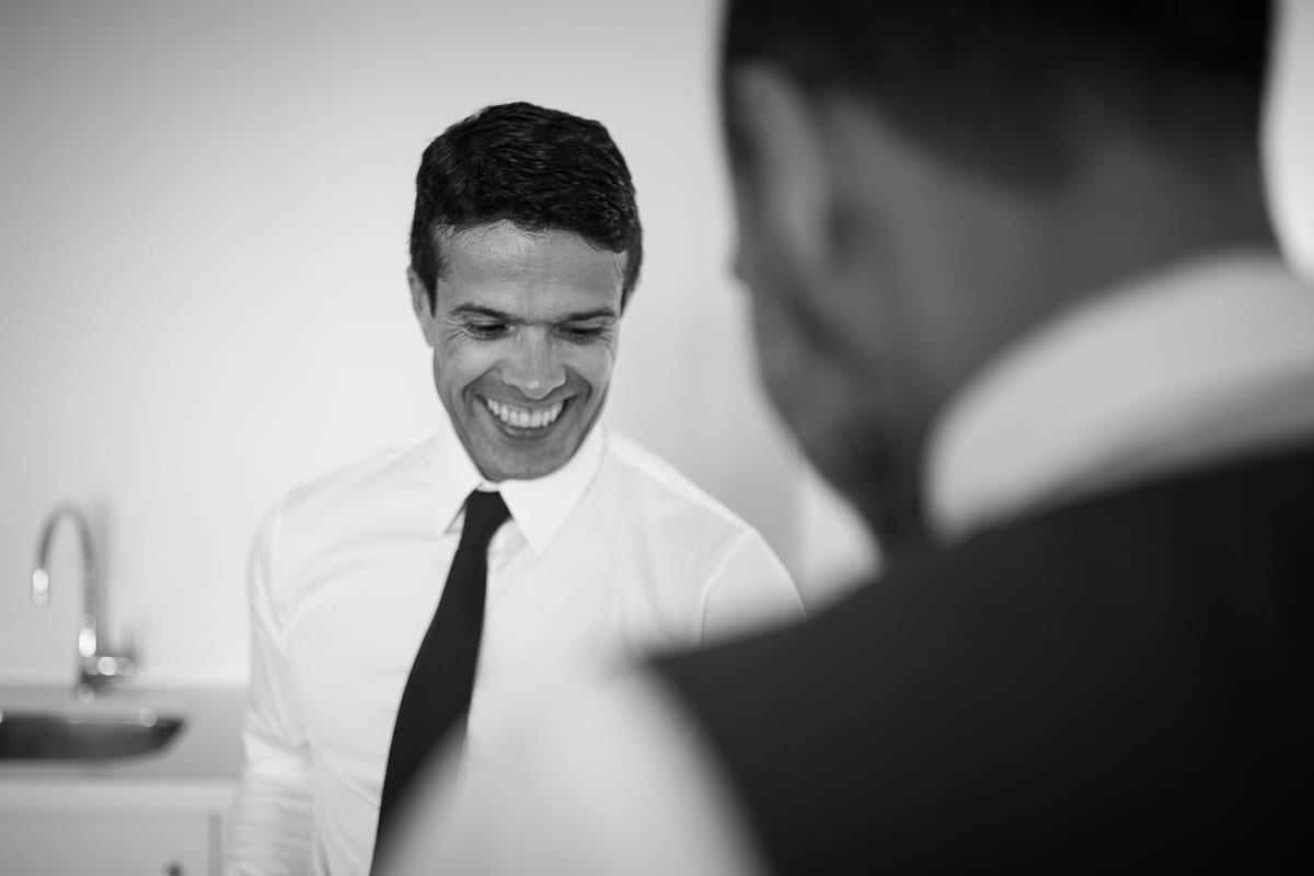 black and white image groom at Anchorage Port Stephens wedding